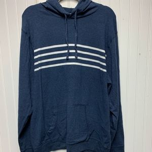 Light Weight Popover Blue Hoodie with white stripe